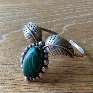 Vintage Green stone w/ silver Native American cuff